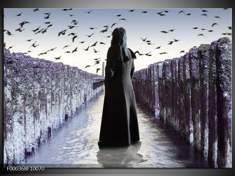 Glas schilderij Vrouw | Zwart, Grijs, Wit