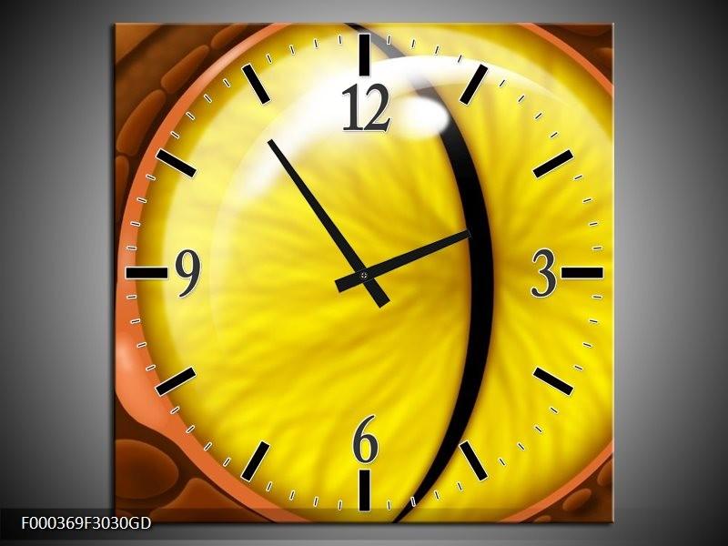 Wandklok op Glas Oog | Kleur: Geel, Bruin, Zwart | F000369CGD