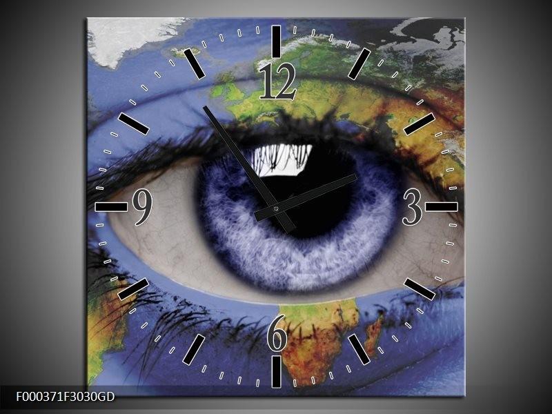 Wandklok op Glas Oog | Kleur: Blauw, Groen, Geel | F000371CGD
