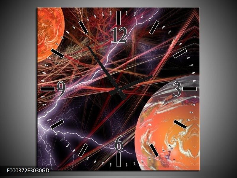 Wandklok op Glas Bliksem | Kleur: Paars, Bruin, Zwart | F000372CGD