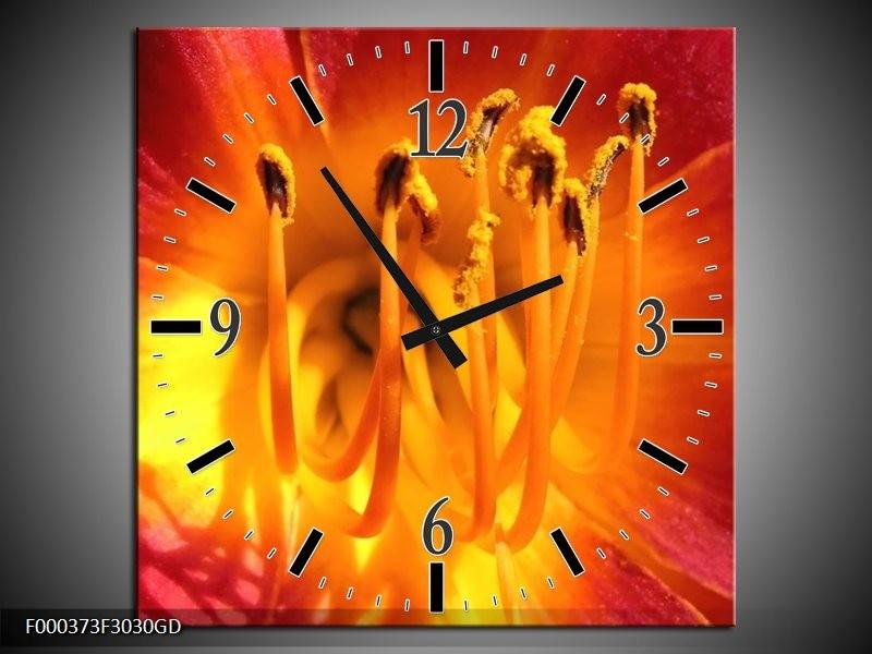 Wandklok op Glas Natuur | Kleur: Geel, Oranje, Rood | F000373CGD