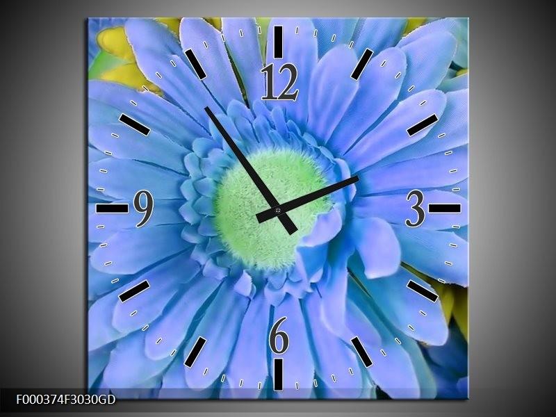 Wandklok op Glas Gerbera | Kleur: Blauw, Geel, Groen | F000374CGD