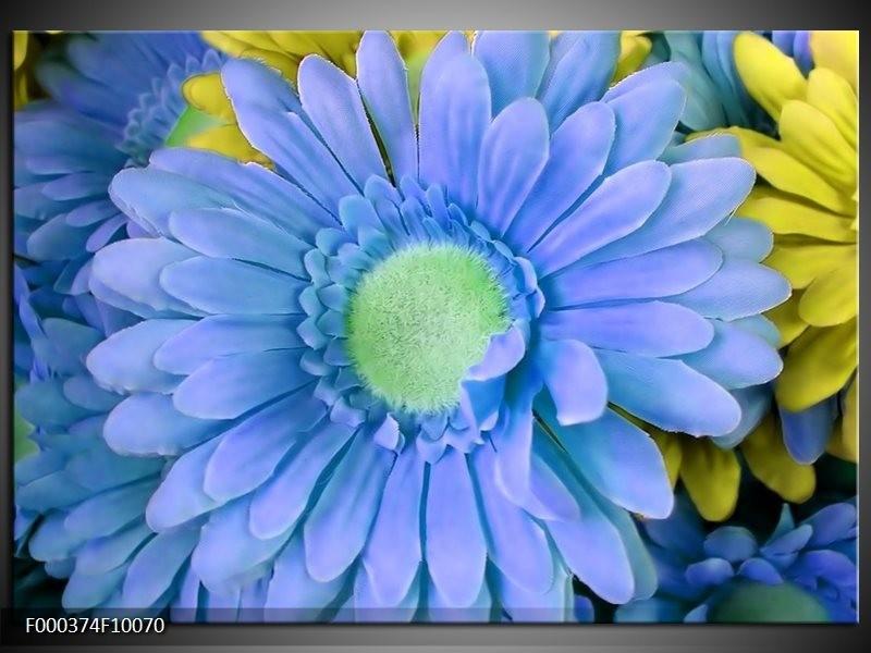 Glas schilderij Gerbera | Blauw, Geel, Groen