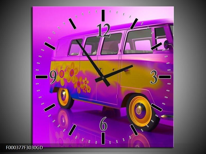 Wandklok op Glas Auto | Kleur: Paars, Geel, Zwart | F000377CGD