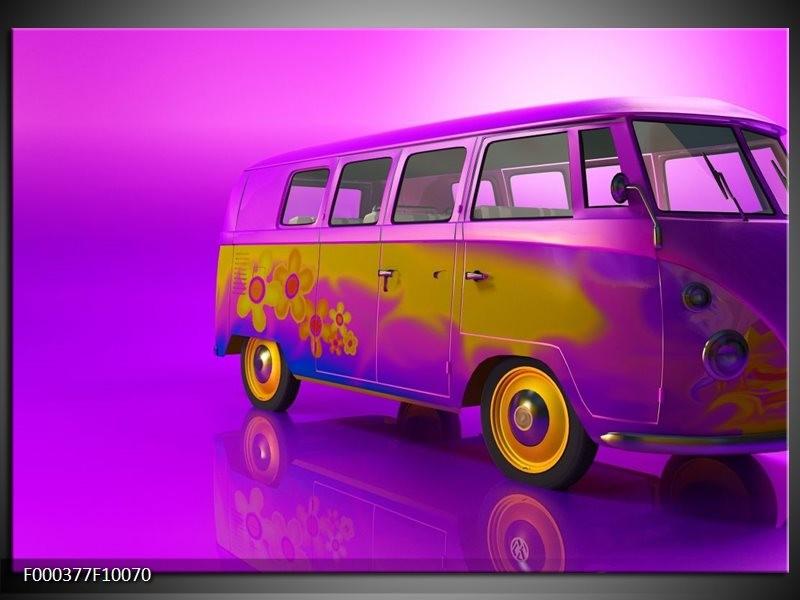 Glas schilderij Auto   Paars, Geel, Zwart