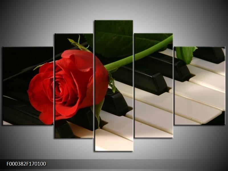 Canvas schilderij Roos | Rood, Rood, Zwart | 170x100cm 5Luik