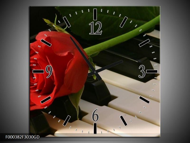 Wandklok op Glas Roos | Kleur: Rood, Rood, Zwart | F000382CGD