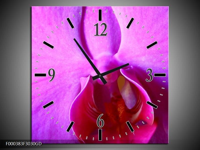 Wandklok op Glas Orchidee | Kleur: Paars, Wit | F000383CGD