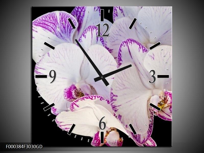 Wandklok op Glas Orchidee | Kleur: Paars, Zwart, Wit | F000384CGD