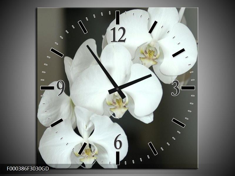 Wandklok op Glas Orchidee | Kleur: Wit, Zwart, Grijs | F000386CGD
