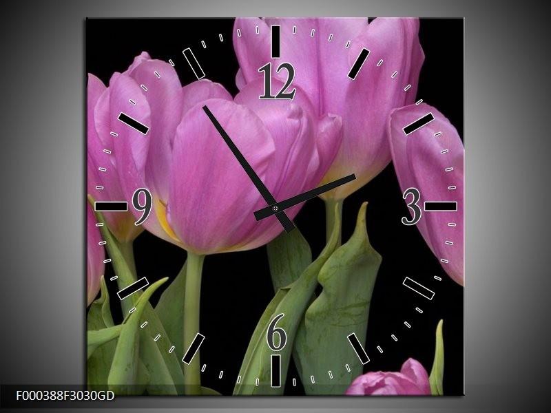 Wandklok op Glas Tulpen   Kleur: Paars, Groen, Zwart   F000388CGD