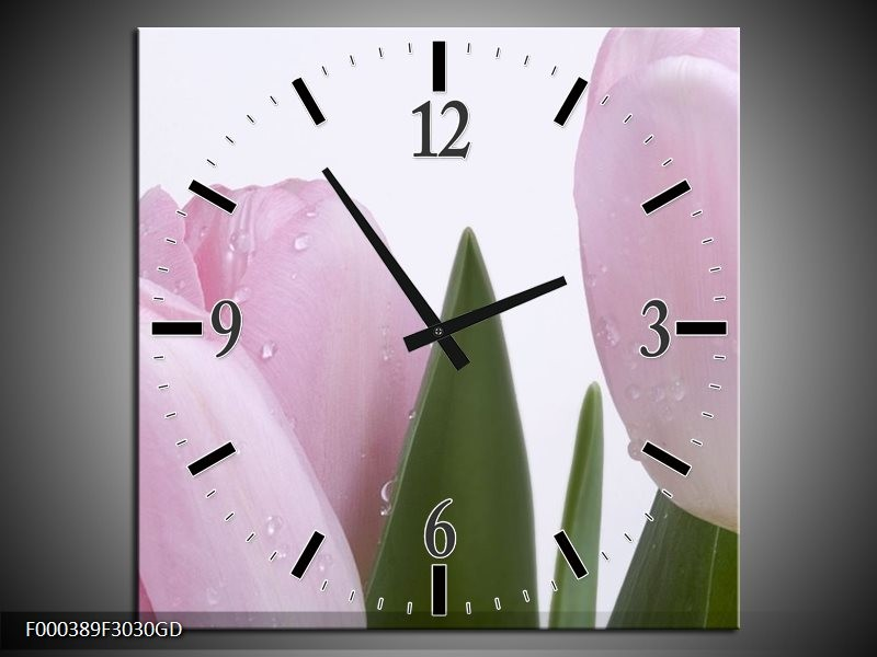 Wandklok op Glas Tulpen | Kleur: Roze, Wit, Groen | F000389CGD