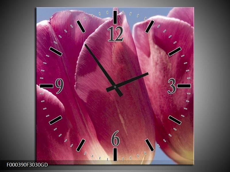 Wandklok op Glas Tulpen | Kleur: Wit, Paars | F000390CGD