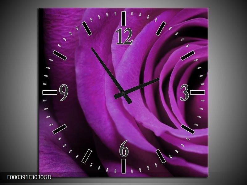 Wandklok op Glas Roos | Kleur: Paars, Zwart | F000391CGD