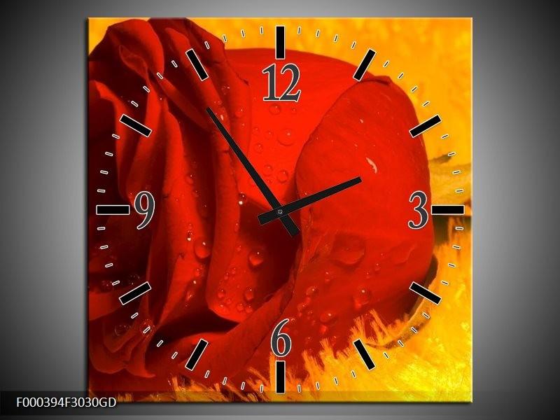 Wandklok op Glas Roos | Kleur: Rood, Geel, Goud | F000394CGD