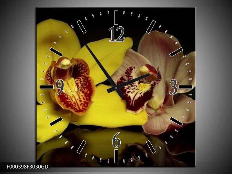 Wandklok op Glas Orchidee | Kleur: Geel, Zwart | F000398CGD