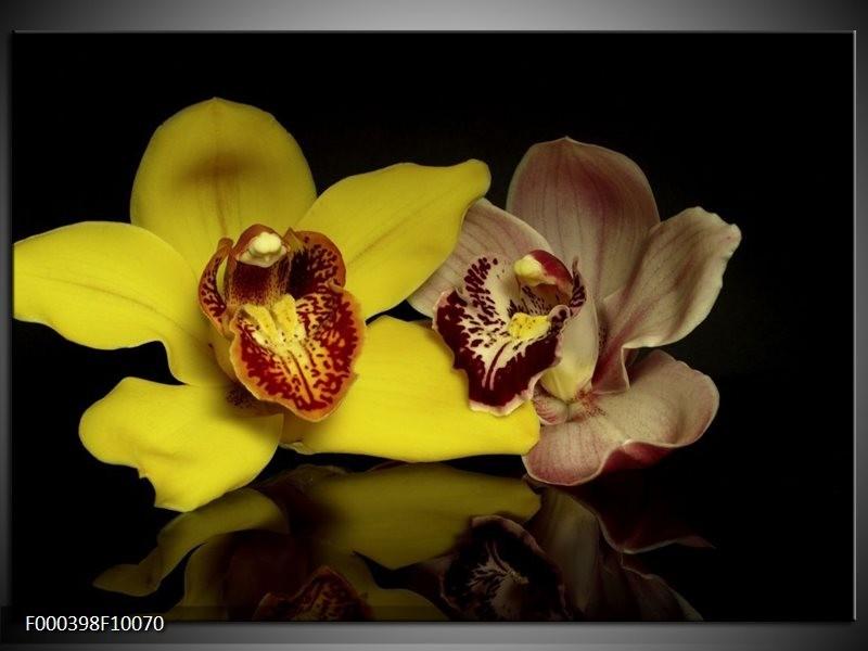 Glas schilderij Orchidee | Geel, Zwart