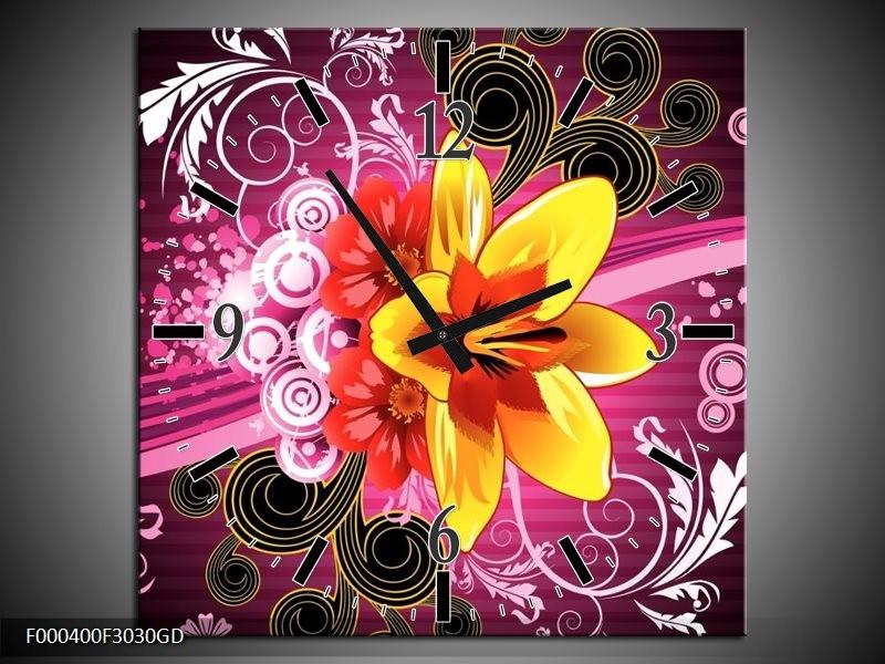 Wandklok op Glas Abstract | Kleur: Paars, Geel, Wit | F000400CGD