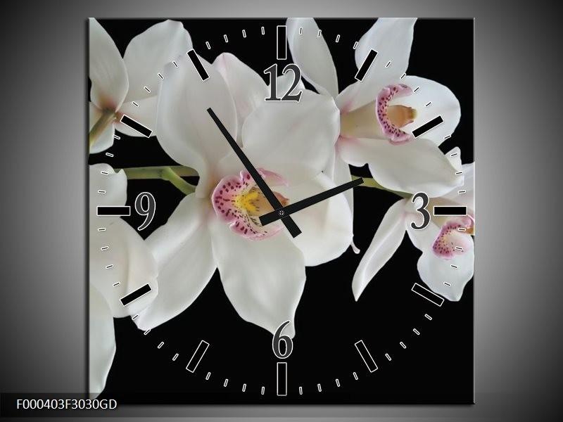 Wandklok op Glas Orchidee | Kleur: Wit, Zwart, Geel | F000403CGD