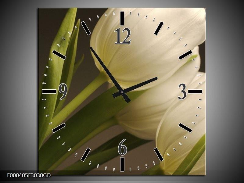 Wandklok op Glas Tulpen | Kleur: Groen, Wit, Grijs | F000405CGD