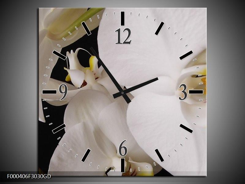 Wandklok op Glas Orchidee | Kleur: Wit, Zwart, Geel | F000406CGD