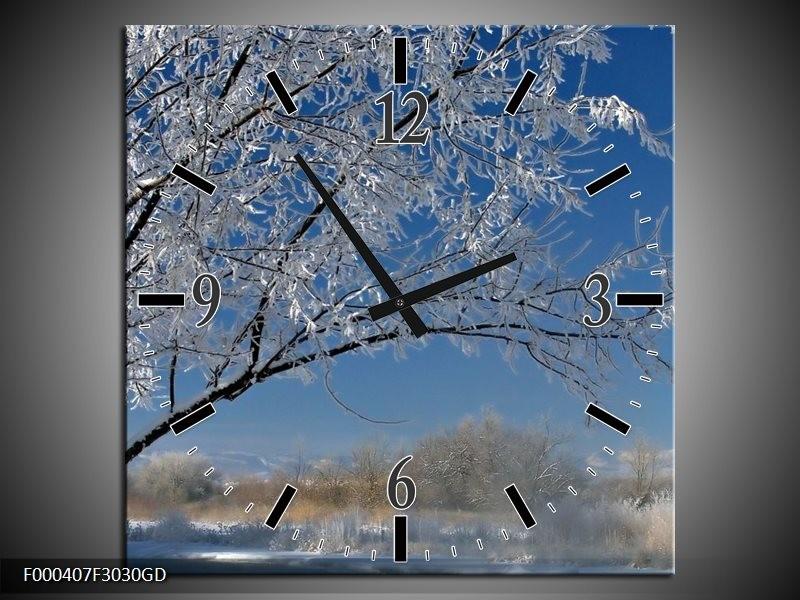 Wandklok op Glas Boom   Kleur: Blauw, Wit, Grijs   F000407CGD