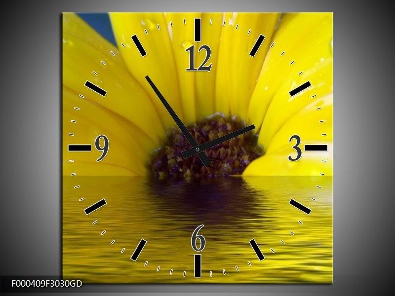 Wandklok op Glas Bloem | Kleur: Geel, Bruin, Grijs | F000409CGD