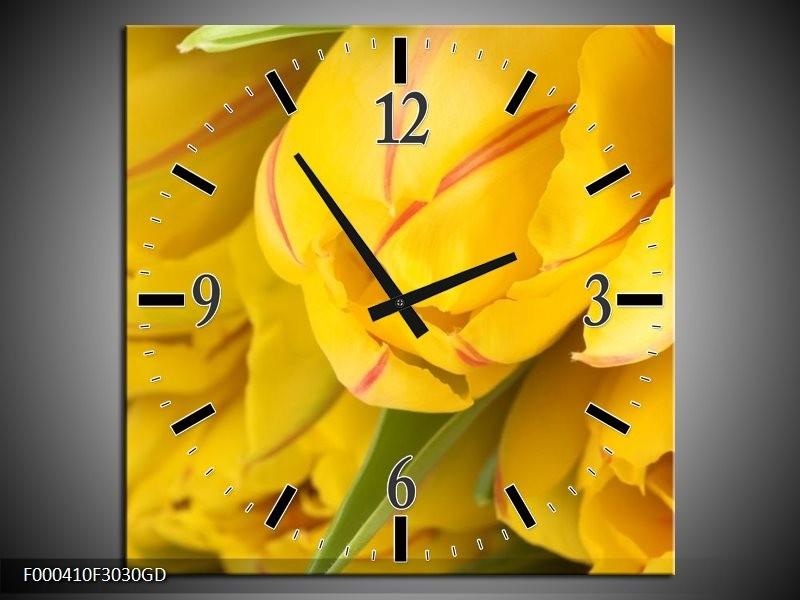 Wandklok op Glas Tulpen | Kleur: Geel, Rood, Groen | F000410CGD