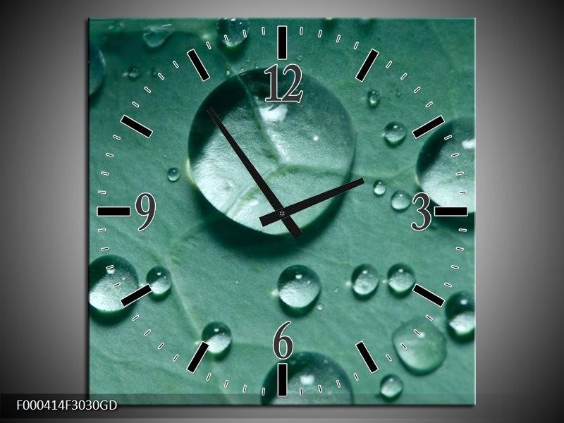Wandklok op Glas Druppels | Kleur: Groen, Wit, Grijs | F000414CGD
