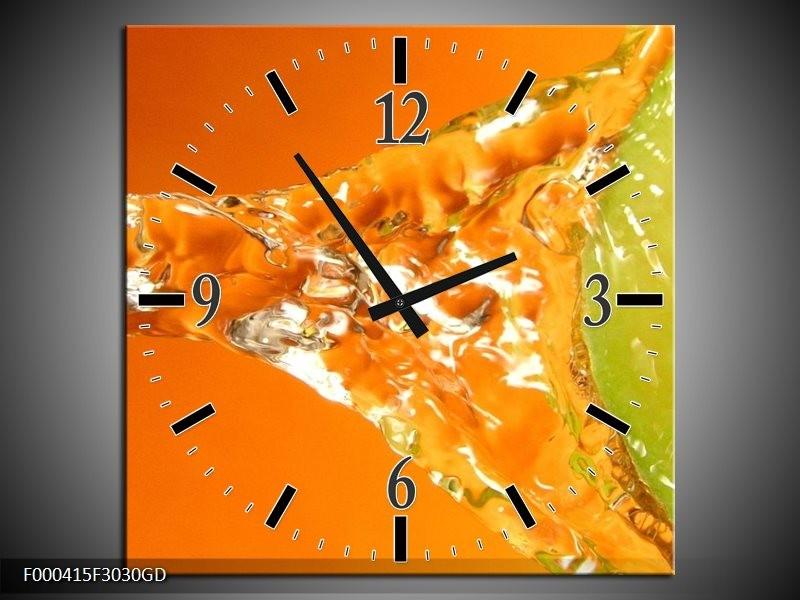 Wandklok op Glas Druppels | Kleur: Oranje, Groen, Geel | F000415CGD