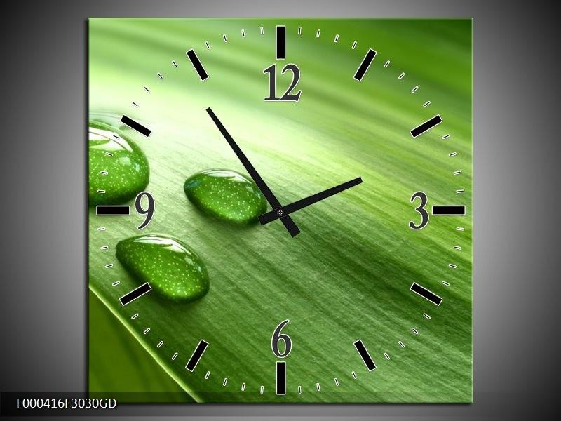 Wandklok op Glas Druppels | Kleur: Groen, Wit, Grijs | F000416CGD