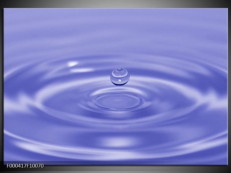 Glas schilderij Druppels | Blauw, Wit