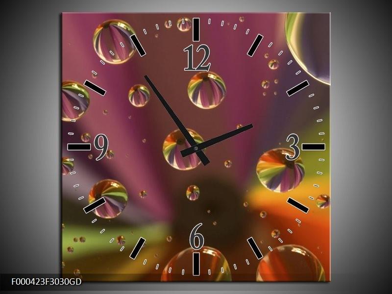 Wandklok op Glas Druppels | Kleur: Paars, Geel, Groen | F000423CGD