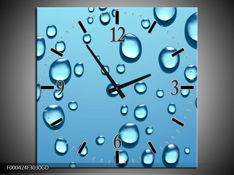 Wandklok op Glas Druppels | Kleur: Blauw, Wit | F000424CGD