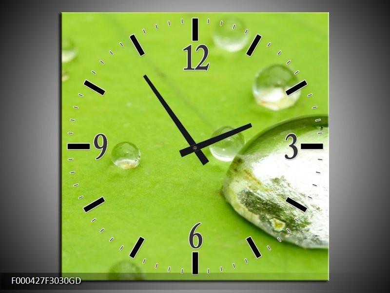 Wandklok op Glas Druppels   Kleur: Groen, Wit, Grijs   F000427CGD