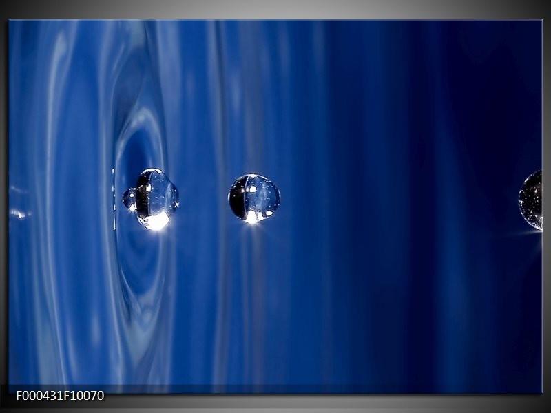 Glas schilderij Druppels   Blauw, Grijs