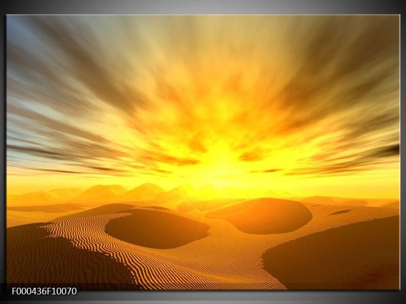 Glas schilderij Zonsondergang | Geel, Grijs, Goud