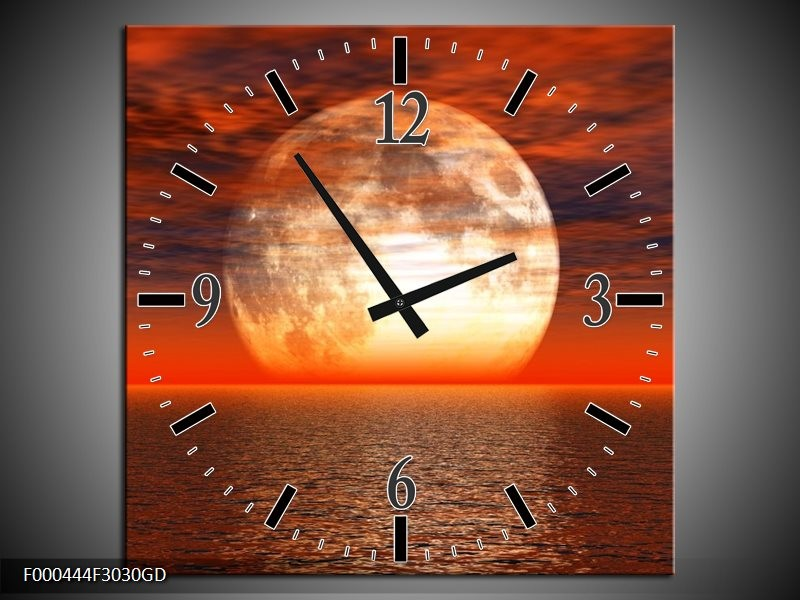 Wandklok op Glas Zonsondergang | Kleur: Rood, Grijs, Wit | F000444CGD