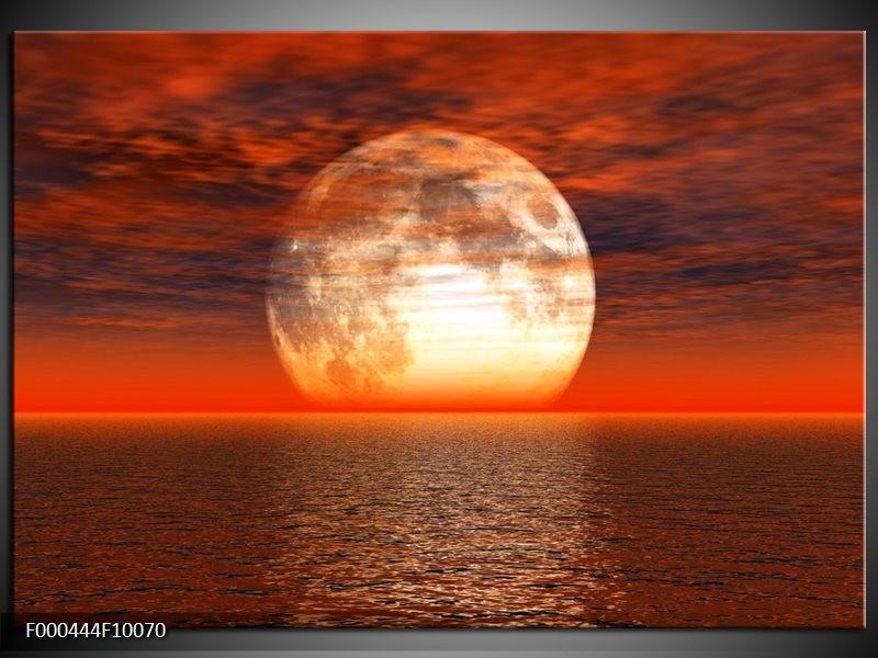 Glas schilderij Zonsondergang | Rood, Grijs, Wit