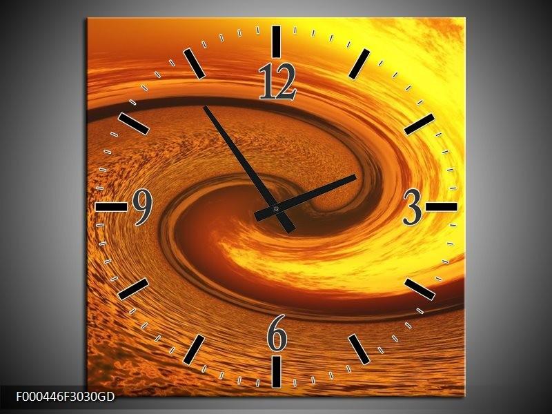 Wandklok op Glas Abstract | Kleur: Geel, Goud, Bruin | F000446CGD