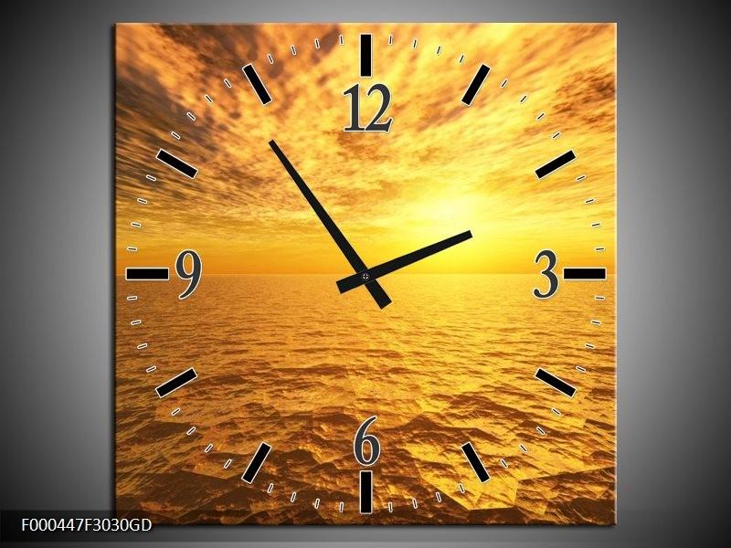 Wandklok op Glas Zonsondergang | Kleur: Geel, Bruin, Grijs | F000447CGD
