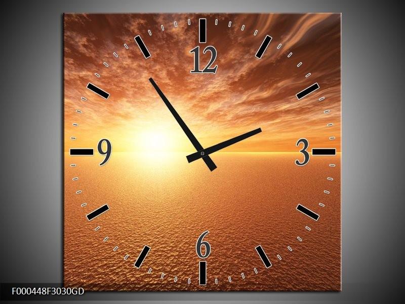 Wandklok op Glas Zonsondergang | Kleur: Geel, Bruin, Grijs | F000448CGD