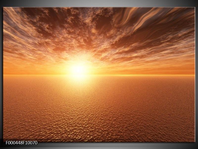 Glas schilderij Zonsondergang | Geel, Bruin, Grijs