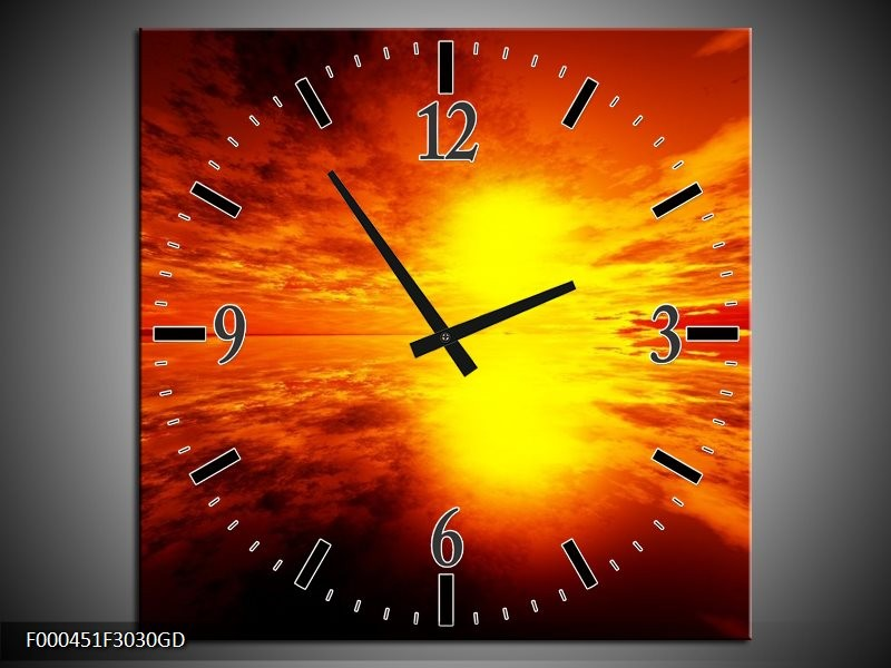 Wandklok op Glas Zonsondergang | Kleur: Rood, Geel, Zwart | F000451CGD