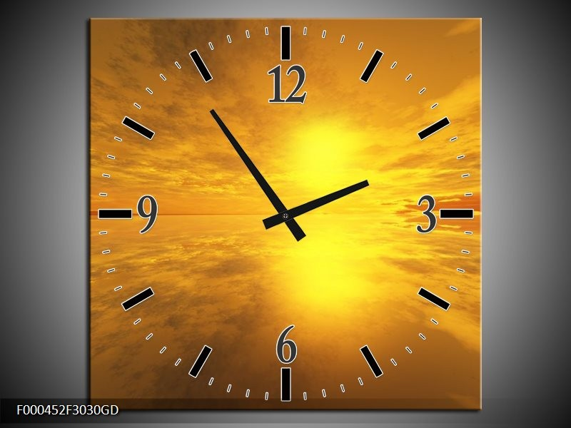 Wandklok op Glas Zonsondergang | Kleur: Geel, Oranje, Grijs | F000452CGD
