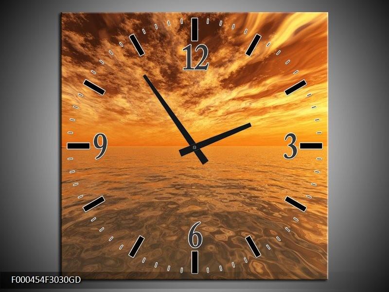Wandklok op Glas Zonsondergang | Kleur: Geel, Oranje, Grijs | F000454CGD