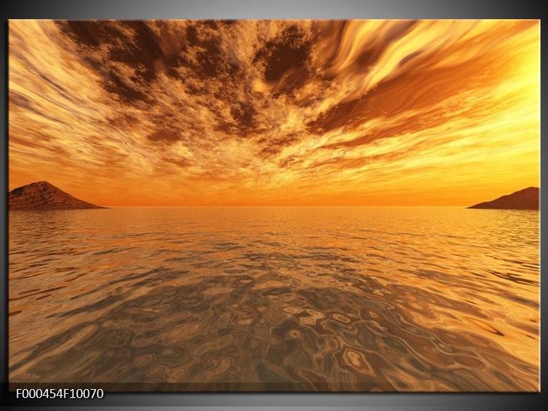 Glas schilderij Zonsondergang | Geel, Oranje, Grijs