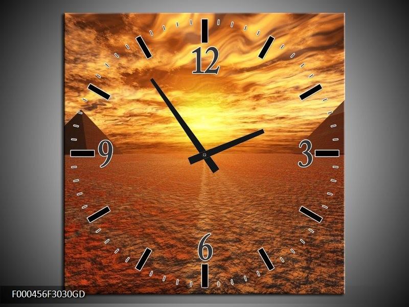 Wandklok op Glas Zonsondergang | Kleur: Geel, Oranje, Grijs | F000456CGD