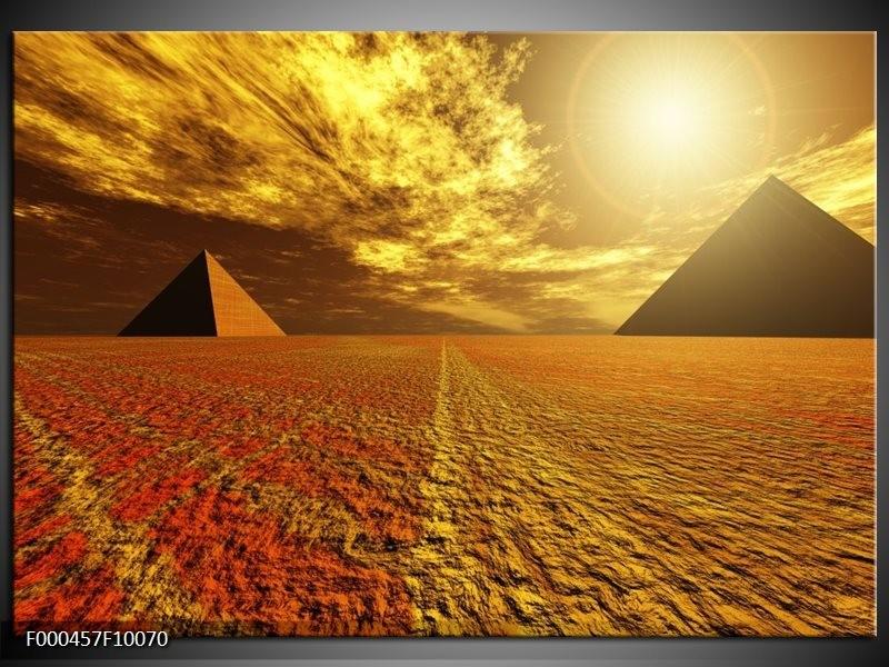 Glas schilderij Piramide | Geel, Bruin, Wit