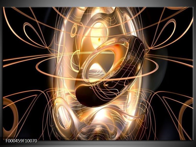 Glas schilderij Abstract | Zwart, Wit, Goud